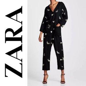 Zara Long Black Floral Embroidered Jumpsuit